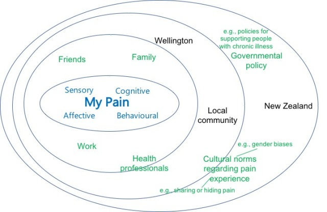 "A series of circles within each other. An inner circle with ""my pain"" surrounded by ""sensory"", ""affective"", ""cognitive"", and ""behavioural"". The next circle surrounding the inner circle, has ""friends"", ""family"", ""work"". The next circle has ""health professoinals"" straddling the boundary, and ""Wellington"" and ""Local community"" within. The widest circle, ""New Zealand"" has ""Governmental policy, e.g., policies for supporting people with chronic illness"" and ""Cultural norms regarding pain experience, e.g., gender biases, sharing or hiding pain""."