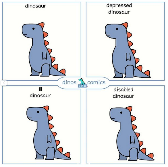 """A four panel cartoon of a dinosaur. In each panel, the dinosaur looks the same. However, a different heading is above each of the four dinosaurs: """"dinosaur"""", """"depressed dinosaur"""", """"ill dinosaur"""", """"disabled dinosaur""""."""